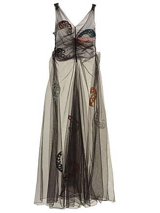 Attico Penelope Embellished Tulle Dress - Womens - Black Multi