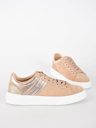 Hogan Suede H365 Sneakers with Metallic Leather and Glittery Detai size 35