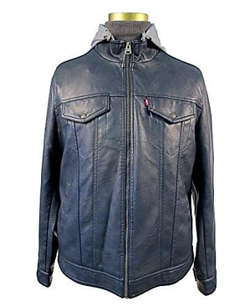 Levi's Mens Faux Leather / Stand Collar Hooded Trucker Jacket, Navy, LARGE