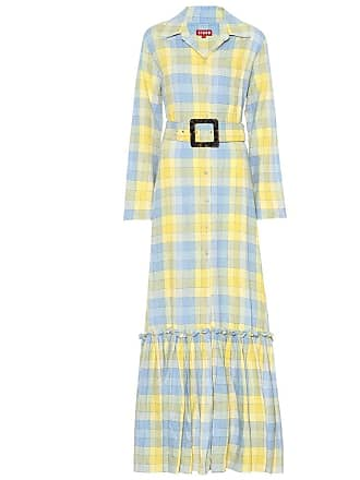 Staud Rose checked cotton maxi dress