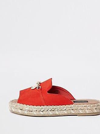 River Island Womens Red espadrille peep toe wide fit sandals