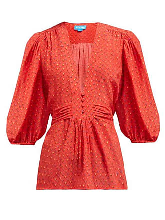 Mih Jeans Ava Tulip Print Silk Blouse - Womens - Red