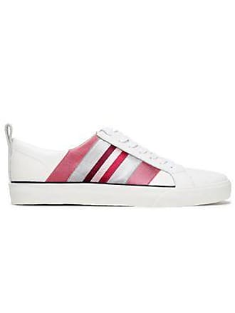 Diane Von Fürstenberg Diane Von Furstenberg Woman Tess Striped Satin-trimmed Leather Sneakers White Size 7
