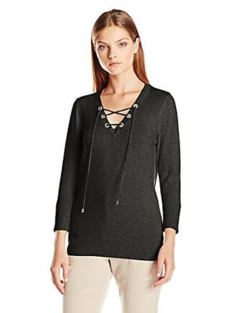 Calvin Klein Womens Fine Guage Lace up Sweater, Heather Charcoal, M