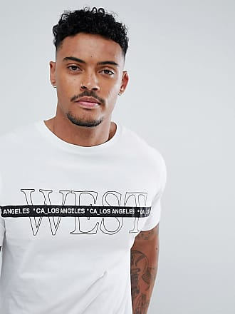 River Island Weißes T-Shirt mit West-Print und Zierstreifen - Weiß 089bc4c284