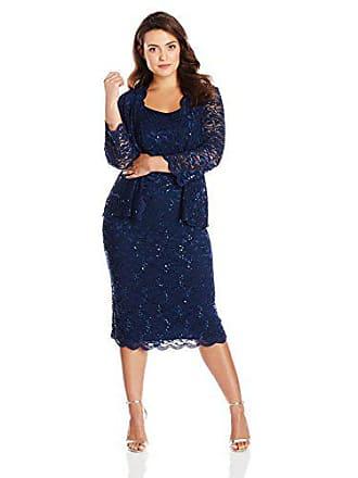 4732736735e Alex Evenings Womens 18W Plus Size Tea Length Lace Dress and Jacket