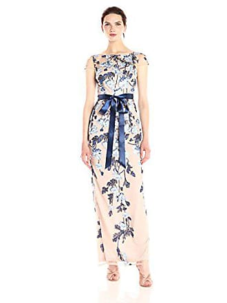 Adrianna Papell Womens Cascading Floral Column Gown, Midnight Multi/Nude, 8