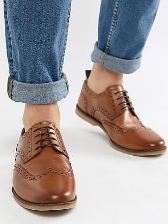 3264af4af34 Asos Zapatos Oxford casual de corte ancho en cuero tostado con suela de  goma de ASOS