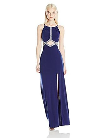 A. Byer Juniors Long Mermaid Prom Dress with Embellishments, Navy, 13
