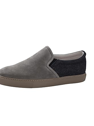 Brunello Cucinelli Suede And Denim Slip On