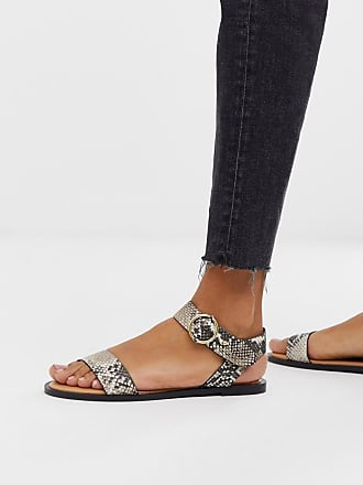 Qupid Qupid two part flat sandals in snake - Multi