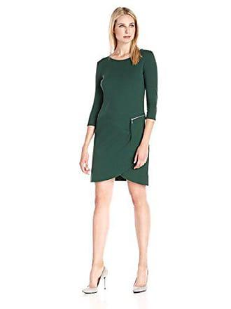 Joan Vass Womens Three Quarter Sleeve Scoop Neck Dress, Green, 1