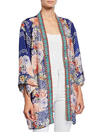 ecc4f080f6f Johnny Was Blati Printed Silk Shorter Kimono with Embroidered Trim