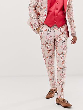 5fb656c6610aae Asos Pantaloni da abito skinny in jacquard rosa a fiori con riga larga -  Rosa