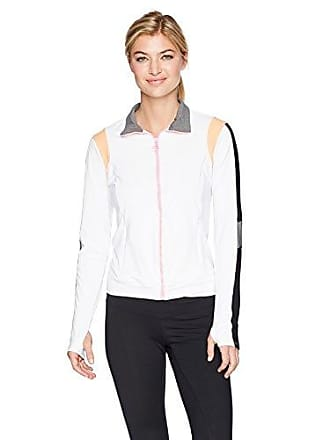 Trina Turk Recreation Womens Color Blocked Jacket, White, XS