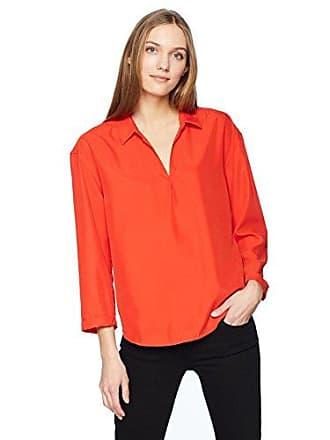 Calvin Klein Jeans Womens Sueded Modal POP Over Blouse, Wild Orange, M