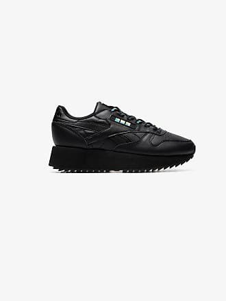 Reebok black Classic chunky leather low top sneakers