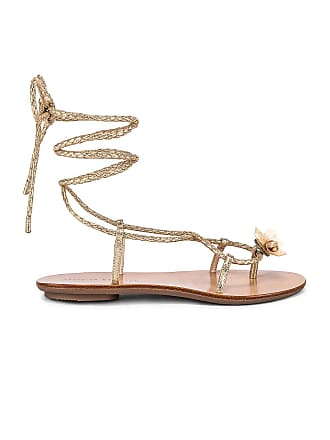 Loeffler Randall Wrap Sandal With Shells in Metallic Gold