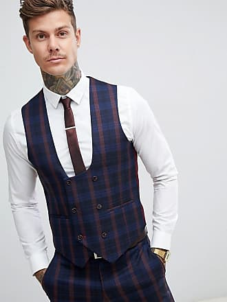 Harry Brown Marinblå och vinröd rutig kostymväst med smal passform -  Marinblå eaf0e176567ba