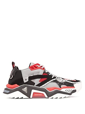 CALVIN KLEIN 205W39NYC Calvin Klein 205w39nyc - Strike 205 Leather And Mesh Trainers - Mens - Red