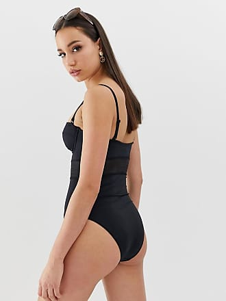 551d9ddf860653 Asos Tall ASOS DESIGN Tall recycled mesh insert underwired cupped swimsuit  in black - Black
