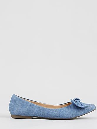 501767e4d Via Uno Sapatilha Bico Fino Feminina Via Uno com Laço em Jeans Azul Claro