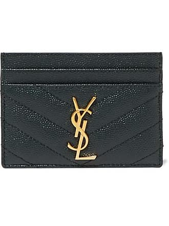 Saint Laurent Quilted Textured-leather Cardholder - Dark green