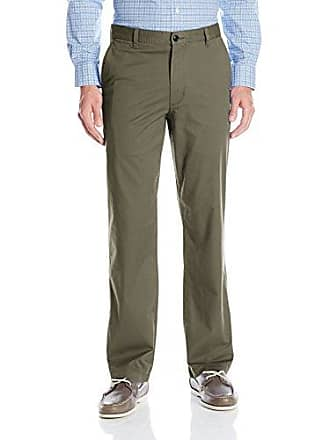 Dockers Mens Washed Khaki Straight-Fit Flat-Front Pant, Dockers Olive, 40W x 29L