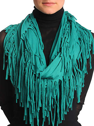Liss Kiss Pine Green With Tassels Snood Scarf - Green Designer Snood