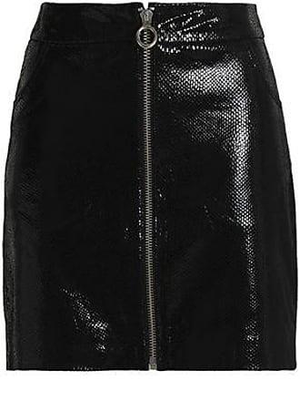 Zoe Karssen Zoe Karssen Woman Snake-effect Patent-leather Mini Skirt Black Size M
