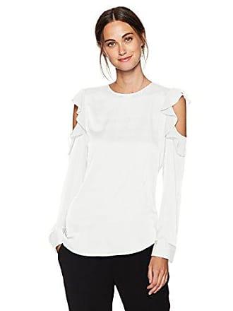 Calvin Klein Womens Flutter Cold Shoulder Top, Soft White, L