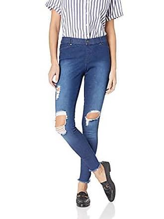 Hue Womens Fashion Leggings, Assorted, Ripped Ankle Slit - Dark Denim Wash, XL