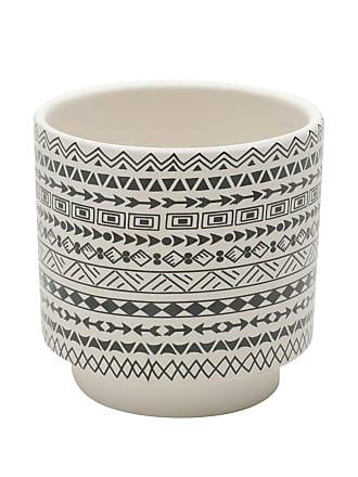 Urban Cachepot Cerâmica Aztec Native Branco 10,3X10,3X10 Cm Urban