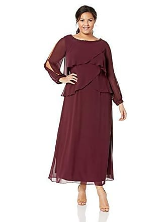 S.L. Fashions Womens Plus Size Long-Sleeve Chiffon Cocktail Dress, fig, 20W