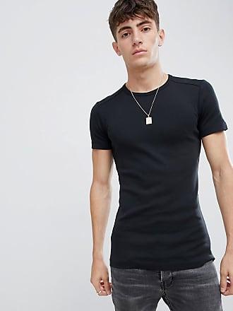 Esprit Ribbad t-shirt i ekologisk bomull och muscle fit-modell - Svart d54a5db61b556