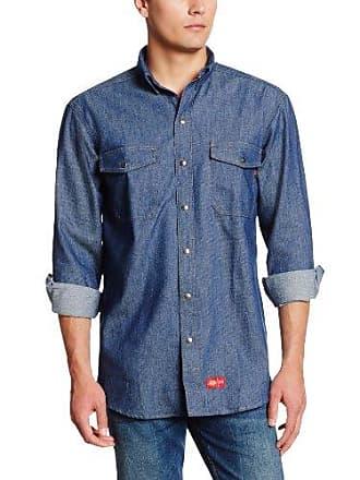 c74fb8cd33 Dickies Mens Big Flame Resistant Long Sleeve Denim Snap Front Shirt