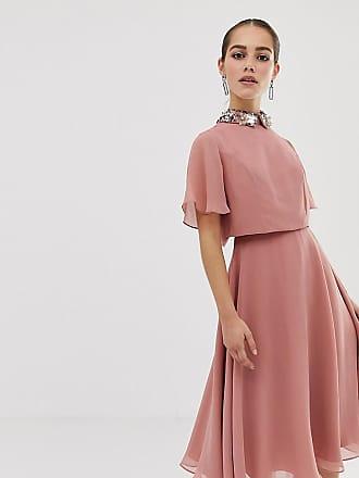 555e15596daf Asos Petite ASOS DESIGN Petite midi dress with crop top and 3D embellished  collar