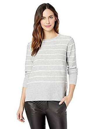 NYDJ Womens Long Sleeve Crew Neck Sweater, Heather Grey Vanilla Stripe, XS