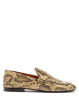 3f3a9f41f38 Isabel Marant Fezzy Snakeskin Effect Leather Penny Loafers - Womens - Cream  Multi