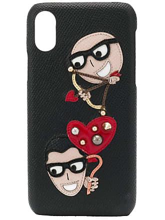 Dolce & Gabbana Capa para iPhone X com patches - Preto