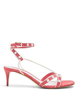 Valentino Free Rockstud Suede Sandals - Womens - Pink White