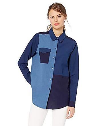 BCBGeneration Womens Colorblocked Mixed Chambray Shirt, Light Wash, S
