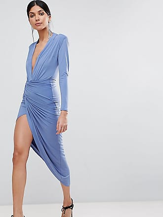 John Zack Tall Wrap Front Maxi Dress - Blue