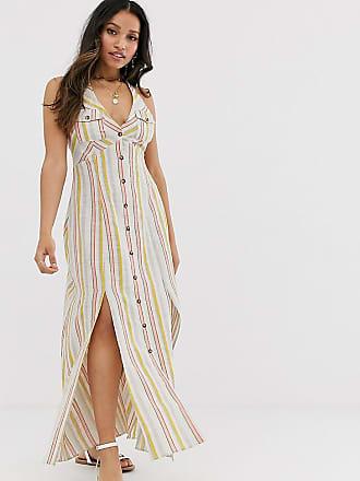 f5553481b8 Asos Petite ASOS DESIGN Petite button through halter neck maxi dress in  stripe - Multi