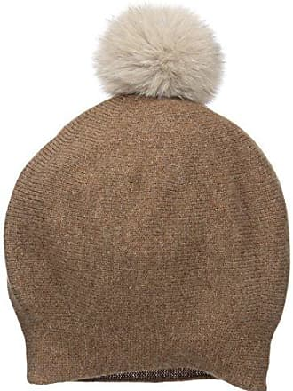 La Fiorentina Womens Cashmere Blend Slouchy Beanie with Fur Pom, Taupe/Natural, One Size