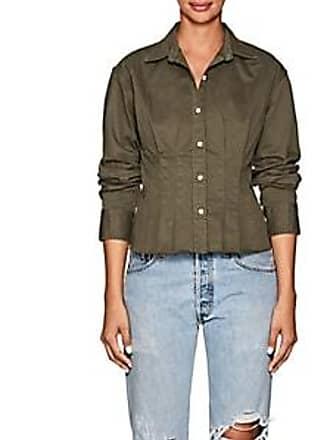 0cc296feea Current Elliott Womens Tella Cotton Twill Pintuck Blouse - Green Size 1
