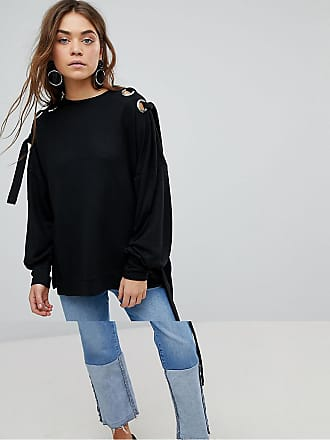Only Sweater With Eyelet Detail - Black