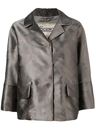 Herno metallic-look floral print jacket - Grey