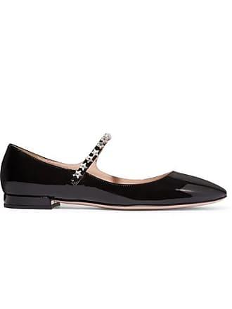 3c6948b0b2c Miu Miu Crystal-embellished Patent-leather Mary Jane Ballet Flats - Black