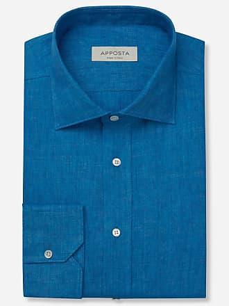 Apposta Camicia tinta unita blu lino tela lino normandia, collo stile semifrancese